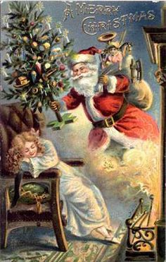 Santa Surprise! ~ Vintage postcard * 1500 free paper dolls Christmas gifts artist Arielle Gabriels The International Paper Doll Society also free paper dolls The China Adventures of Arielle Gabriel *