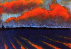 Violette Berglandschaft by Emil Nolde Emil Nolde, Watercolor Landscape, Abstract Landscape, Landscape Paintings, Watercolor Paintings, Watercolours, Barn Paintings, Degenerate Art, Paisajes