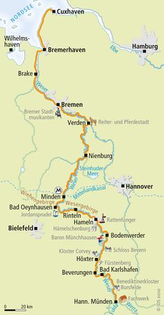 Weser-Radweg Karte