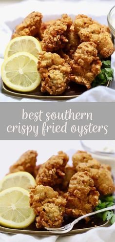 Quick and easy Best Southern Crispy Fried Oysters, with their delectable crunchy cornmeal coating are tasty briny bivalves, which taste just like the sea. In this easy recipe, raw oysters are soaked in buttermilk and dredged in a cornmeal mixture, Appetizers For A Crowd, Seafood Appetizers, Seafood Dinner, Appetizer Recipes, Southern Appetizers, Seafood Pasta, Cheese Appetizers, Party Appetizers, Raw Oysters