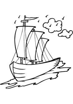 Dessin à colorier d'un navire en route pour une expédition Beach Coloring Pages, Cars Coloring Pages, Coloring For Kids, Tattoo Design Drawings, Pencil Art Drawings, Easy Drawings, Ship Drawing, Line Drawing, Drawing Ideas
