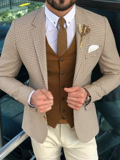 af489d326ad Slim-Fit Plaid Suit Vest Camel. Polo Shirt OutfitsBlazer Outfits MenMale  OutfitsCasual ...