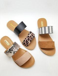 Women's Trendy Clothes, Shoes and Accessories shoes cute sandals Double Strap Sandal Cute Sandals, Cute Shoes, Women's Shoes, Me Too Shoes, Shoe Boots, Leopard Sandals, Slide Sandals, Flat Sandals, Trendy Sandals