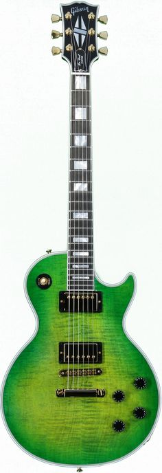 Gibson Les Paul Custom Green Sunburst Guitar.