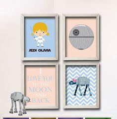 Star Wars Nursery Art I Love You To The Moon by StarWarsPrintShop, $32.00