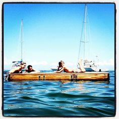 Chappy kids on floating dock. Chappaquiddick. Martha's Vineyard. Photo by terrellsandefur • Instagram