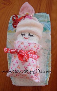 cute baby shower decoration - miniature diaper babies