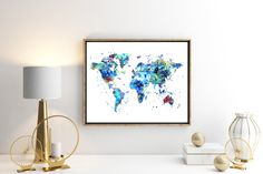 World Map Watercolor Map 1 Art Print Poster Wall by ZuzisStudio