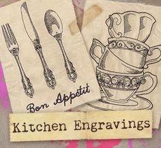 Kitchen Engravings (Design Pack) design (UTP1065) from UrbanThreads.com