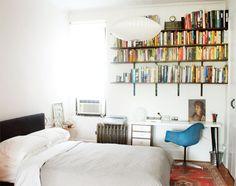 Manhattan Nest, Brooklyn apartment, bedroom, wall-mounted bookshelves