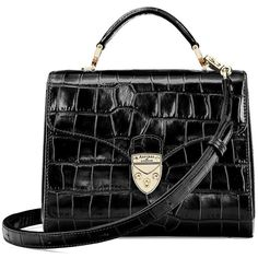 9b176cc72aa Aspinal of London Midi Mayfair Bag in Deep Shine Black Croc - Kate  Middleton Bags