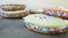 Looking for a little bit of color to brighten things up? These sprinkled vanilla sandwich cookies are the perfect dessert that you will definitely enjoy.