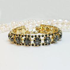 Black Crystal Bracelet Gold Swarovski Black Patina by TIMATIBO