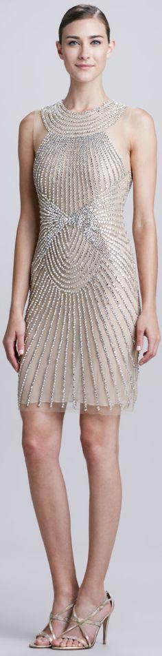 HAUTE♔DRESS Naeem Khan High-Neck Ray-Beaded Cocktail Dress #HauteCouture