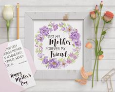 Mother's day: wall art plus bonus card; hand painted watercolors; printable art; DIY card; instant download by LollysLaneShoppe on Etsy Watercolor Border, Wreath Watercolor, Flowers Today, Flower Graphic, Perfect Mother's Day Gift, Gifts For Your Mom, Diy Cards, Happy Mothers Day, Purple Flowers