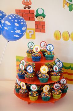 24 Super Mario birthday party cupcake toppers food picks Free coloring page. $7.99, via Etsy.