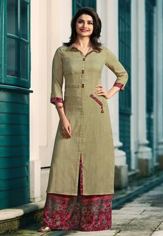 Buy Beige Long Kurti with Printed Palazzo. Shop a Party wear designer Kurti with Palazzo online, Purchase a Designer Kurti with Palazzo at Best price Plain Kurti Designs, New Kurti Designs, Simple Kurti Designs, Kurta Designs Women, Kurti Designs Party Wear, Salwar Designs, Kurti Sleeves Design, Kurta Neck Design, Sleeves Designs For Dresses