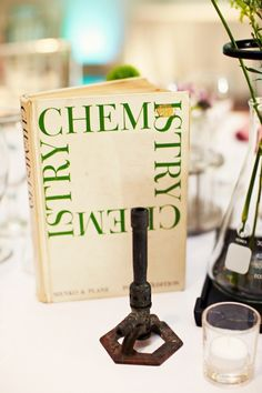 Dallas Wedding by Sarah Rhoads Photographers Centerpiece for each department? Non Floral Centerpieces, Banquet Centerpieces, Wedding Reception Decorations, Wedding Centerpieces, Flowerless Centerpieces, Chemistry Wedding, Science Wedding, Moon Wedding, Diy Wedding