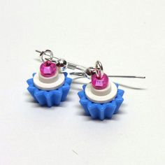 Mini White and Blue Cupcake Dangle Earrings Blue Cupcakes, Mini Cupcakes, Cupcake Crafts, Lego Group, Dangle Earrings, Dangles, Diy Projects, Fun, Etsy