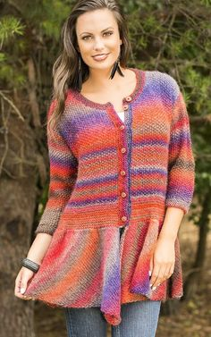 Free Knitting Pattern for Walking Bird Cardigan - Kristin Hansen's flirty cardigan features a skirted bottom. This would look great over leggings as well as jeans! Great with multi-color yarn. Small (Medium, Large, 1X, 2X)