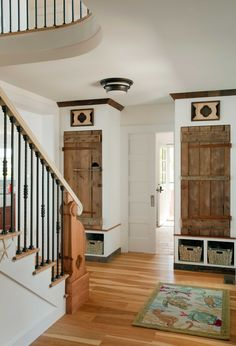 Longleaf Lumber reclaimed barn doors salvaged from agricultural outbuildings for a home in Rockport, Massachusetts.