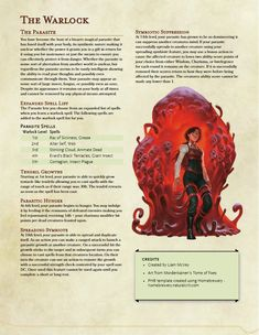 Homebrew sub class for the Warlock, a pact with a parasitic entity. Dungeons And Dragons Classes, Dungeons And Dragons Homebrew, Dungeons And Dragons Characters, Dnd Characters, Warlock 5e, Warlock Class, Dnd Dragons, Dnd Stories, Dnd Classes