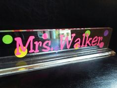 SALE Personalized teacher gift acrylic desk by thecraftgiraffe