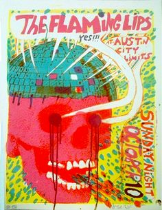Concert Poster - Flaming Lips Poster Screenprinted with Wayne Coyne's Blood ( Rock Poster / Skull / Graphic Design / Illustration / Concert Poster / Gig Poster )