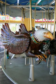 Turtle Back Zoo's Endangered Species Carousel : Bald Eagle Victorian Dollhouse, Modern Dollhouse, Painted Pony, Merry Go Round, Carousel Horses, Barbie, Endangered Species, Antique Toys, Amusement Park