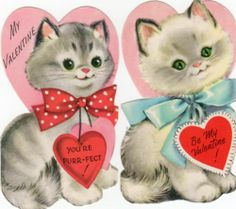 2 Vintage 1960's Gibson Valentines Featuring Pretty Kitty Cats Too Sweet | eBay