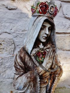 Rustic Virgin Mary Sacred Heart Saint Santos Statue by BlessedJunk, $359.96