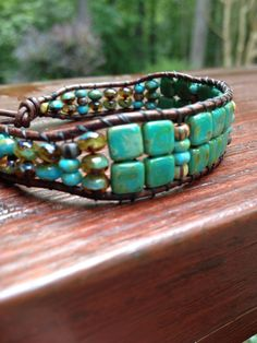 Beaded leather wrap bracelet in turquoise by 12PreciousStones