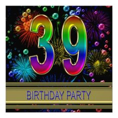 39th Birthday party Invitation with bubbles
