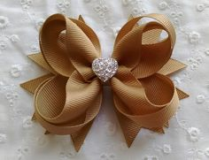 Khaki Boutique Hair Bow with Sparkly Heart to Match School Uniform ~ Cute Birthday, Back to School Gift for Girls by GhinesCreations on Etsy