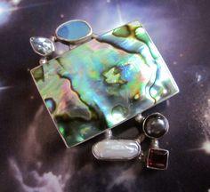 Fire opal abalone pearl moonstone garnet necklace -paua 925 silver pearls blue topaz stone pendant  pearl pendants genuine pearls free chain