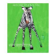 Zebra Art. Baby Zebra. Lime Green. Jungle Nursery.  Kawaii. Kids Art. Illustration. Kids art Print. Poster. Original. - First Steps by ArtChiz on Etsy