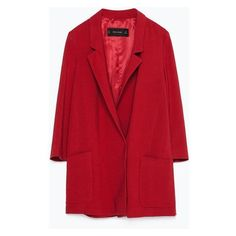 Zara Long Blazer ❤ liked on Polyvore featuring outerwear, jackets, blazers, long red blazer, red blazers, long blazer, longline blazer and long blazer jacket