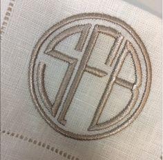 Tone on Tone Monogram on Linen