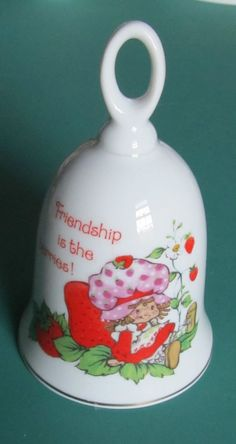"Vintage STRAWBERRY SHORTCAKE Bell  ""Friendship is the Berries! 1983 Designer"