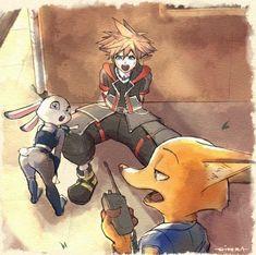 Sora, Judy Hopps and Nick Wilde Kingdom Hearts 3, Kingdom Hearts Crossover, Cry Anime, Anime Art, Kh 3, Chibi, Girls Anime, Pokemon, Kawaii
