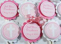 Baptism Cupcake Toppers - Christening - First Holy Communion - Confirmation -Blessings Cupcake Toppers - Religious - 10 Candles Design. $10.00, via Etsy. Vintage Baptism, Christening Banner, Baptism Cupcakes, Blessing Words, Girls Party Decorations, First Holy Communion, Color Schemes, Party Ideas, Baby Shower