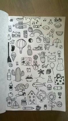 30 Super Cute How To Doodles For Your Bullet Journal Tumblr Drawings, Art Drawings Sketches, Easy Drawings, Mini Drawings, Simple Doodles Drawings, Small Drawings, Bullet Journal Art, Bullet Journal Ideas Pages, Bullet Journal Inspiration