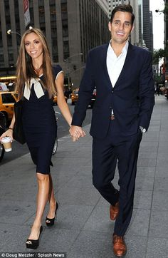 Seriously, how cute is she? @A M Giuliana and husband Bill (who is making navy and brown look good)