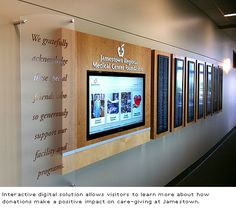 ASI, Minneapolis recently completed a digital signage donor recognition solution for the new critical access and care facility, Jamestown Regional Medical Center. Wendy Pajor, president of ASI, Min… Signage Design, Booth Design, Wall Design, Stand Design, Banner Design, Digital Kiosk, Digital Signage, Digital Wall, Ads Creative