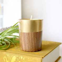 Learn to make these cute retro faux wood candle holders in a few simple steps!