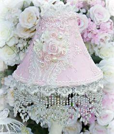 Roses and Pearls Medium Beaded Victorian Lampshade - Victorian Lampshades - Roses And Teacups