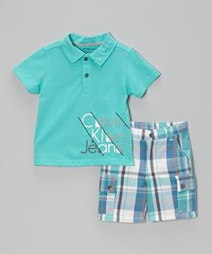 This Teal 'Calvin Klein Jeans' Polo & Shorts - Infant, Toddler & Boys by Calvin Klein Jeans is perfect! #zulilyfinds