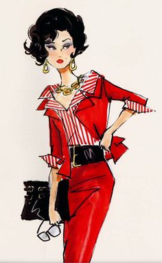 """""""Gal on the Go"""" Barbie design illustration by Robert Best Barbie Suit *Busy Gal*) Moda Fashion, Fashion Dolls, Fashion Art, Vintage Fashion, Fashion Design, Sixties Fashion, Fashion Tips, Fashion Illustration Vintage, Illustration Sketches"""