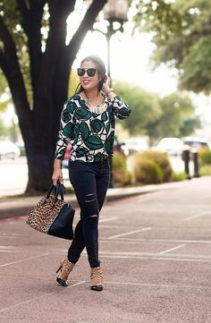 cute & little blog | petite fashion | leaves print top, distressed black jeans, studded pumps, clare v. leopard sandrine bag | fall outfit