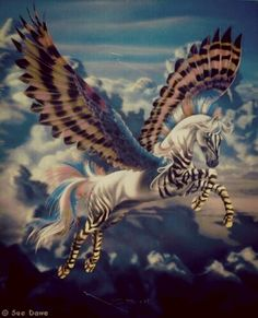 Zebra Pegasus - not Pegasus - just a zebra flying horse. There was only one horse named Pegasus. It is not a species! Mythical Creatures Art, Mythological Creatures, Magical Creatures, Fantasy Unicorn, Unicorn Art, Elfen Fantasy, Fantasy Art, Unicorn Pictures, Winged Horse